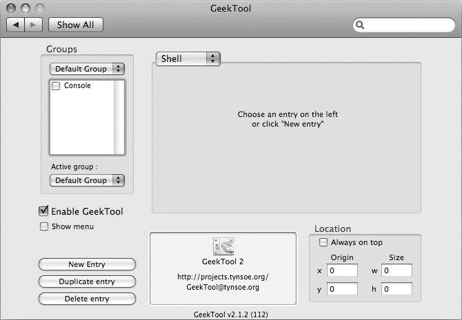 Рис. 3.4. Утилита GeekTool поможет вам лучше использовать пространство рабочего стола