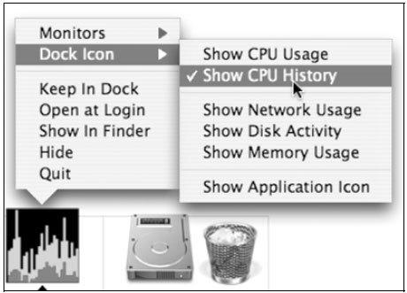 Рис. 3.8. Значок Activity Monitor в панели Dock