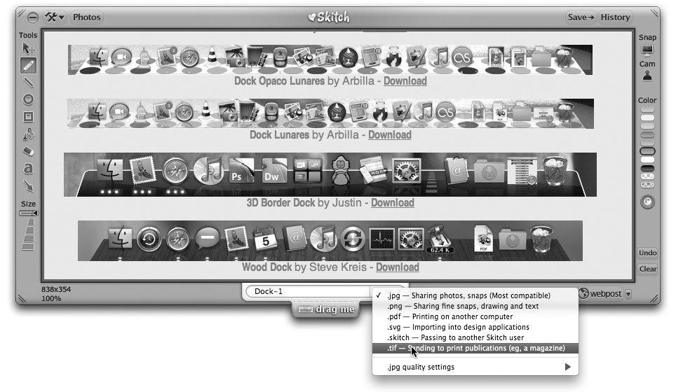 Рис. 3.47. Настройка параметров графических изображений с помощью Skitch