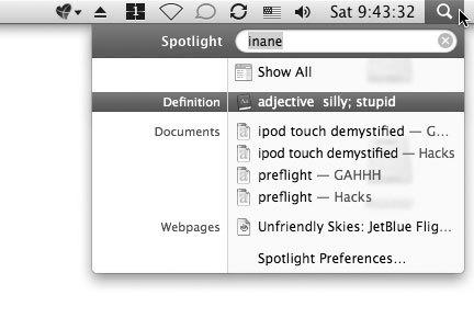 Рис. 3.55. Spotlight не просто помогает искать файлы