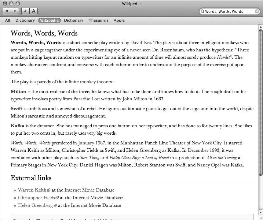 Рис. 3.58. Dictionary — это на самом деле очень удобный браузер Wikipedia