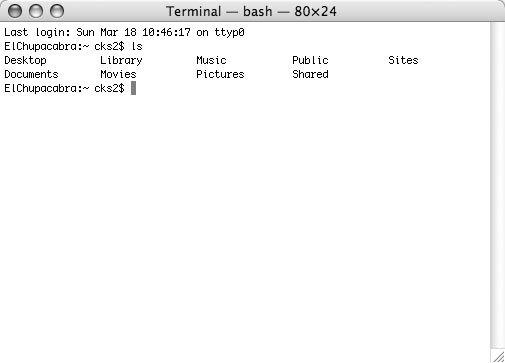 Рис. 4.2. Содержимое домашнего каталога, отображаемое приложением Terminal