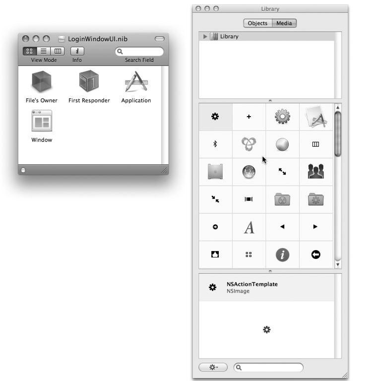 Рис. 5.6. Стандартные окна приложения Interface Builder