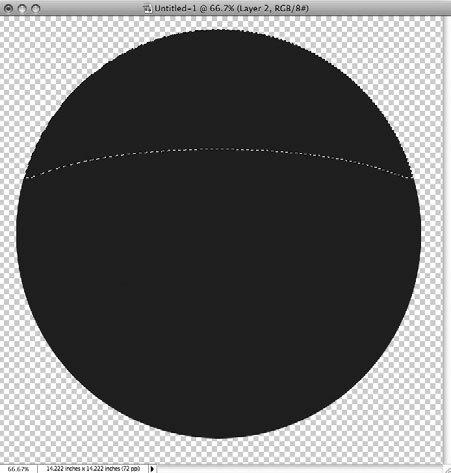 Рис. 5.41. Выделенная верхняя часть круга готова к дальнейшей обработке