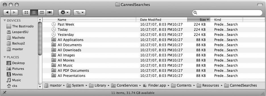Рис. 5.64. Другие сохраненные поиски Apple, которые вы при желании можете активизировать