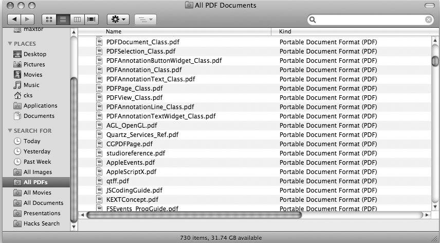 Рис. 5.66. На боковой панели появился новый сохраненный поиск с именем All PDFs