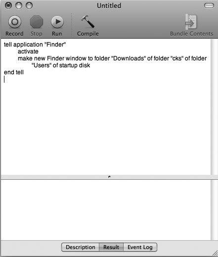 Рис. 6.1. Приложение Script Editor записало для вас сценарий — отметим, вам даже не пришлось для этого программировать