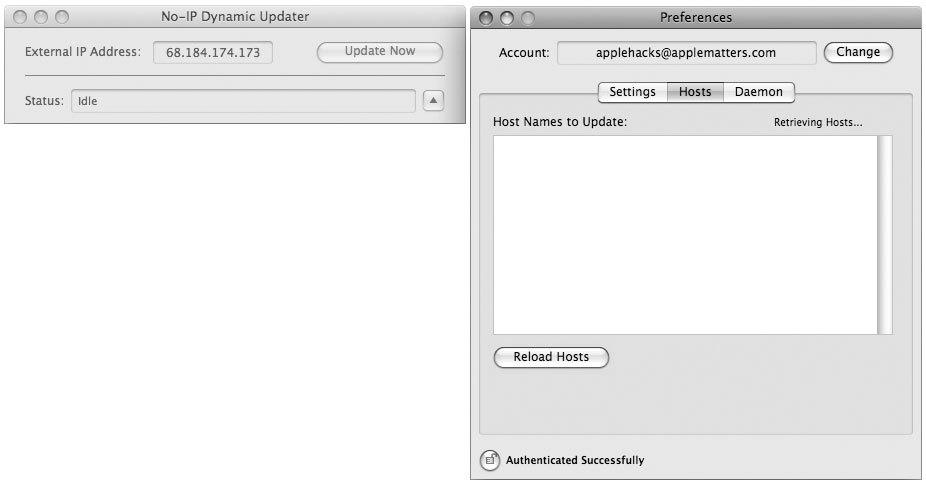 Рис. 6.3. Приложение NoIP запущено и работает, но пока что мало, что может для вас сделать — разве только сообщить вам ваш текущий IP-адрес