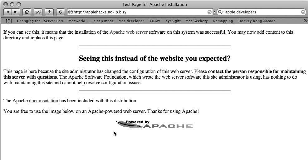 Рис. 6.7. Не все так просто — при попытке доступа вы получаете сообщение об ошибке Apache!
