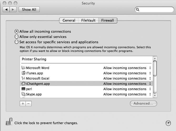 Рис. 6.15. Используемые по умолчанию настройки встроенного брандмауэра Mac OS X