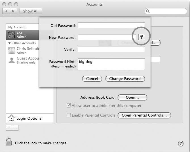 Рис. 6.24. Нажатие кнопки, помеченной изображением ключа, запускает утилиту Mac OS X под названием Password Assistant