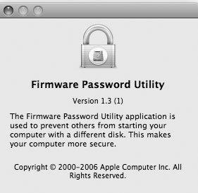 Рис. 6.33. Утилита Firmware Password Utility обеспечивает дополнительную защиту вашего компьютера