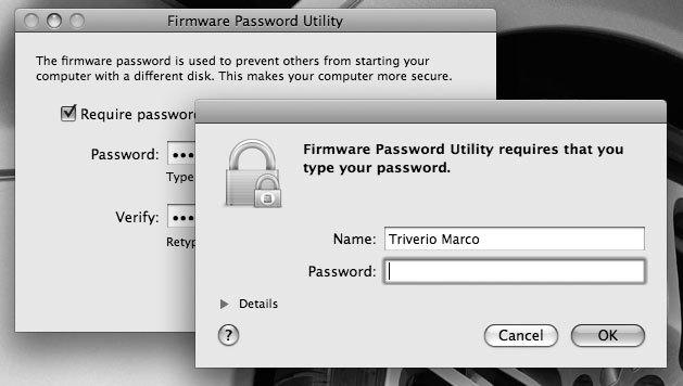 Рис. 6.35. Пароль на микропрограммное обеспечение предоставляет дополнительные степени защиты вашего Mac