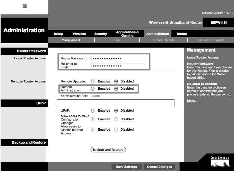 Рис. 6.42. Изменение стандартных административных параметров беспроводного роутера