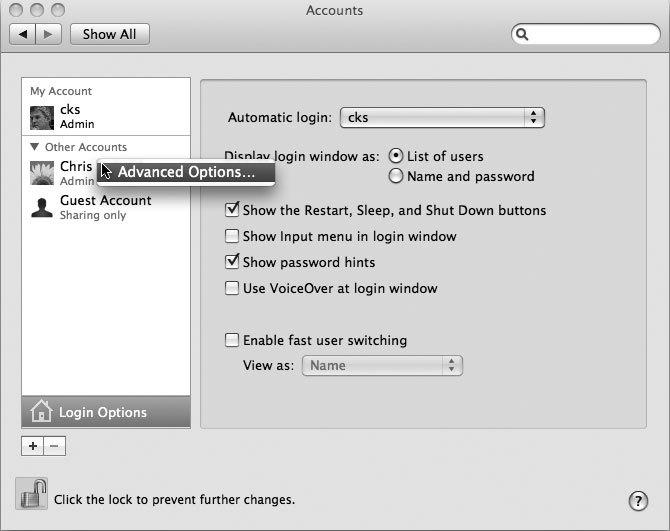 Рис. 7.6. Получение доступа к расширенному набору опций панели Accounts окна параметров предпочтительной настройки системы