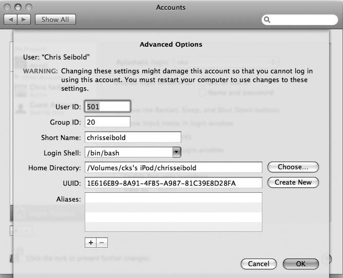 Рис. 7.7. Теперь Mac OS X известно о том, что ваша домашняя папка находится на вашем iPod
