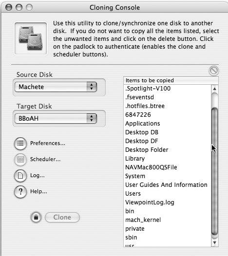 Рис. 7.11. Опции, предлагаемые Carbon Copy Cloner