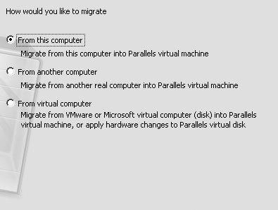 Рис. 8.10. Так как вам требуется создать образ диска вашего Windows-компьютера, выберите опцию Migrate from this computer into Parallels virtual machine