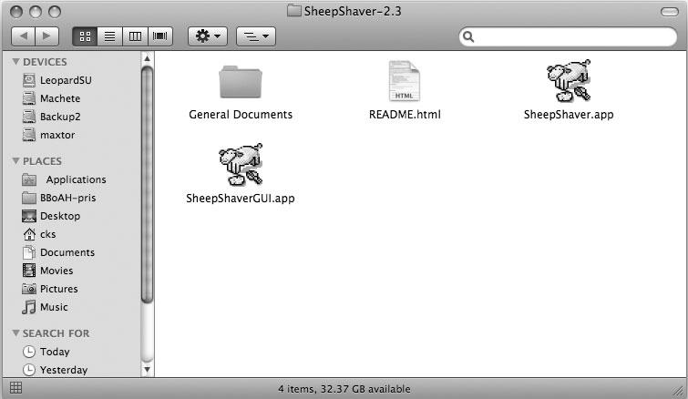 Рис. 8.29. Пусть вас не вводит в заблуждение наличие двух приложений — SheepShaver и SheepShaverGUI