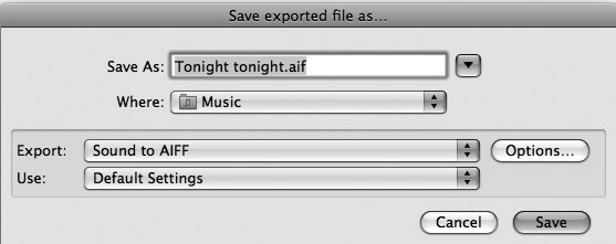 Рис. 9.4. Экспорт в формате AIFF