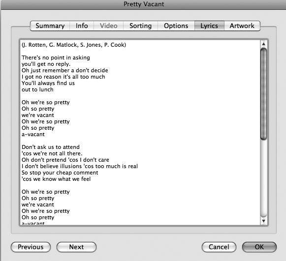 Рис. 9.19. Слова песни автоматически добавляются в библиотеку iTunes