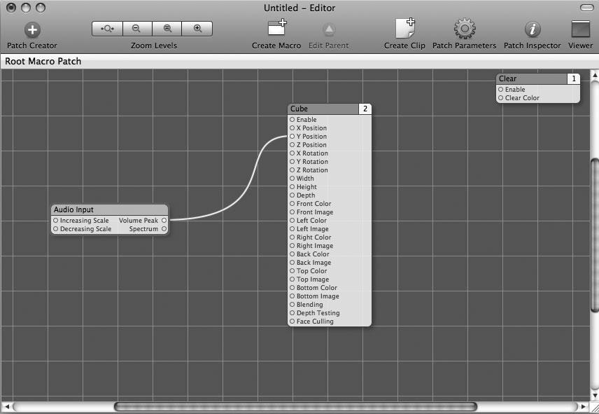 Рис. 9.23. Первое соединение, установленное в Quartz Composer