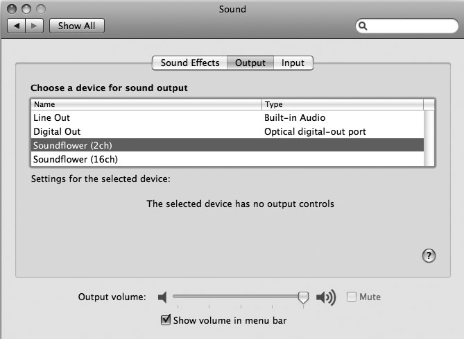 Рис. 9.25. Встроенный аудиовывод изменен на Soundflower (2ch)