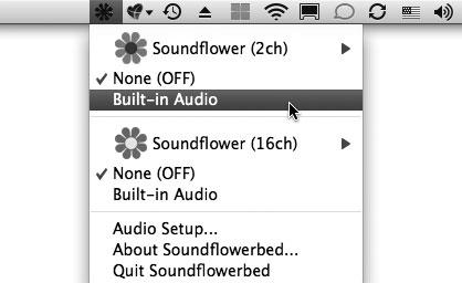 Рис. 9.26. Настройка Soundflower для прослушивания музыки iTunes