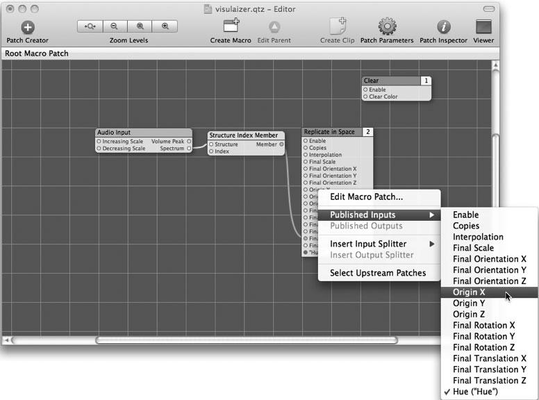 Рис. 9.37. Публикация входа в Quartz Composer