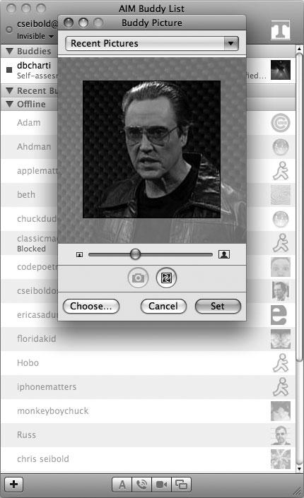 Рис. 9.45. Настройка картинки-аватара в iMessage