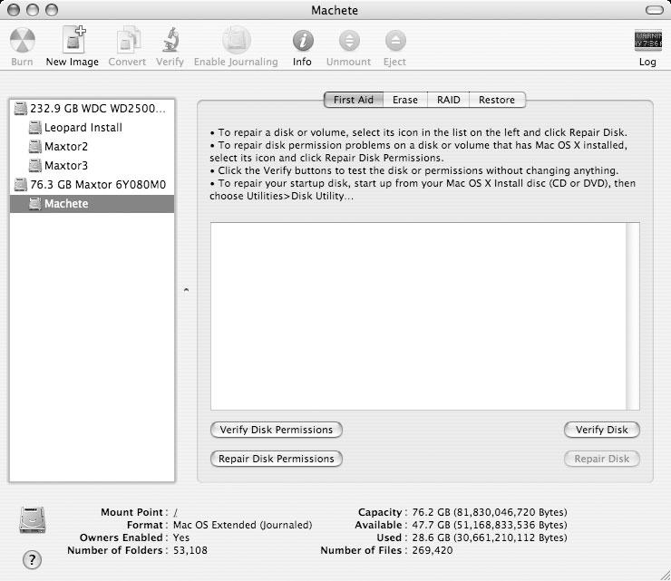 Рис. 1.1. Disk Utility — это мощное средство резервного копирования, хотя по первому впечатлению этого не скажешь