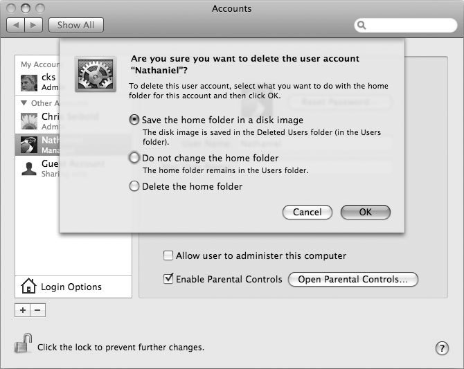 Рис. 1.12. Опции, доступные при удалении учетной записи пользователя
