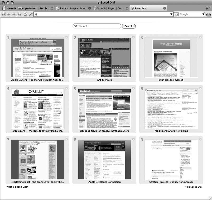 Рис. 2.3. Опция Speed Dial в браузере Opera