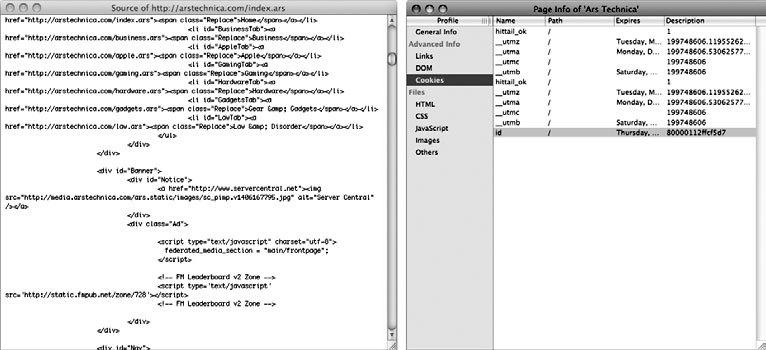Рис. 2.8. Сравнение возможностей по просмотру исходного кода страницы, предлагаемых Safari и Shiira