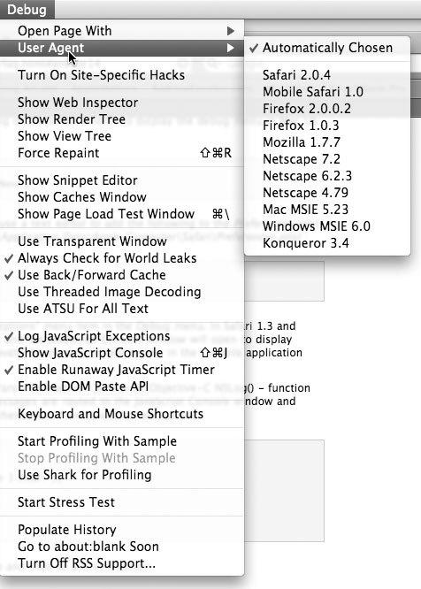Рис. 2.16. Safari может выдавать себя за множество самых различных браузеров