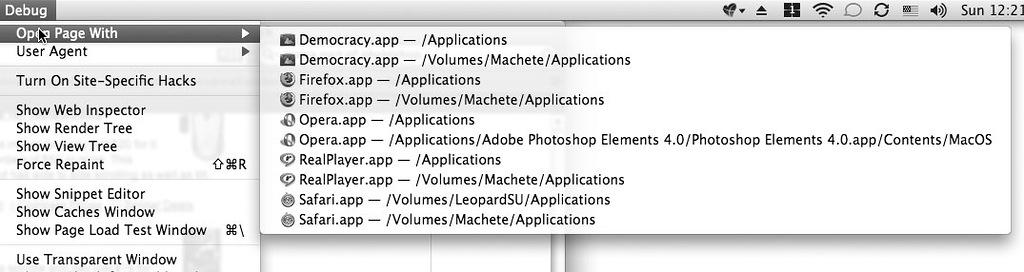 Рис. 2.18. Safari через меню Debug позволяет выбрать другой браузер для открытия проблематичного сайта