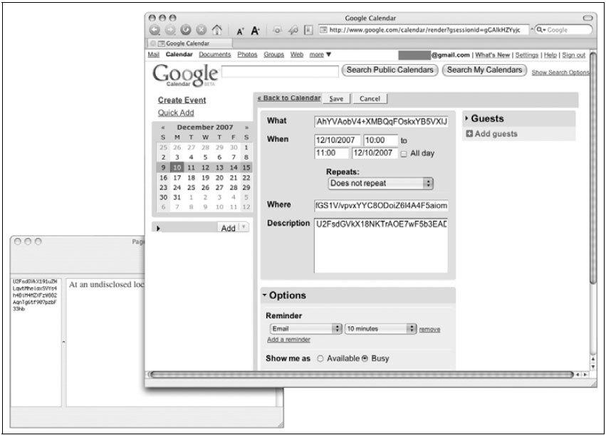 Рис. 2.38. Вставка зашифрованного текста в Web-приложение