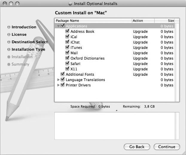 Рис. 3.18. Необязательные приложения и инструментарий разработчика могут быть установлены с любого DVD на любой Mac без всяких дополнительных ухищрений