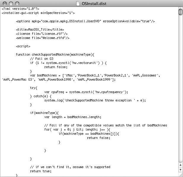 Рис. 3.23. Файл OSInstall.dist, открытый в редакторе TextEdit