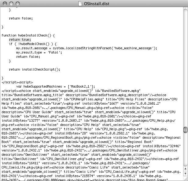 Рис. 3.24. Текст в файле OSInstall.dist, нуждающийся в модификации