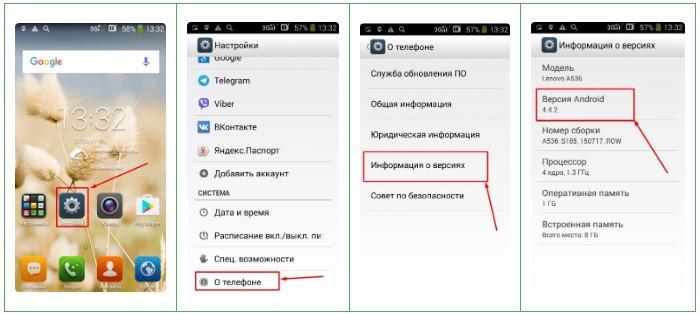 Характеристики телефона и данные о версии ОС
